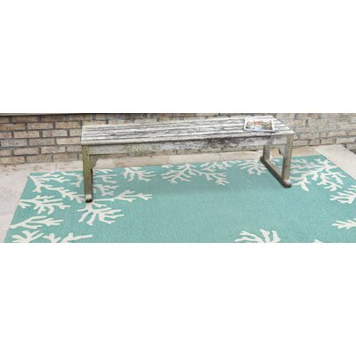 Claycomb Coral Border Hand-Tufted Blue Indoor/Outdoor Area Rug