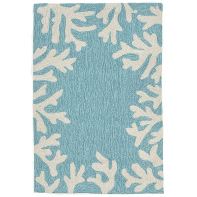 Claycomb Coral Border Hand-Tufted Aqua Indoor/Outdoor Area Rug Rug Size: Rectangle 17 x 25