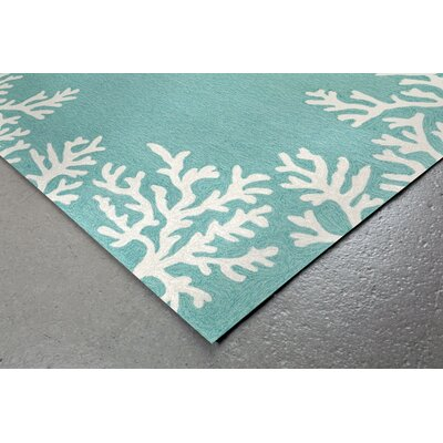 Claycomb Coral Border Hand-Tufted Aqua Indoor/Outdoor Area Rug Rug Size: Round 5