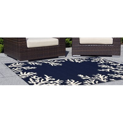 Claycomb Coral Border Hand-Tufted Rectangle Blue Indoor/Outdoor Area Rug
