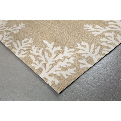 Claycomb Coral Border Hand-Tufted Neutral Indoor/Outdoor Area Rug Rug Size: Round 5
