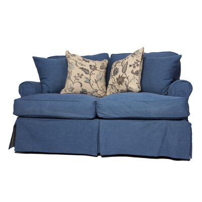 Coral Gables Slipcovered Loveseat Upholstery: Indigo Blue
