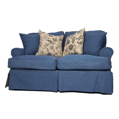 Coral Gables Slipcovered Loveseat Upholstery: Indigo Blue