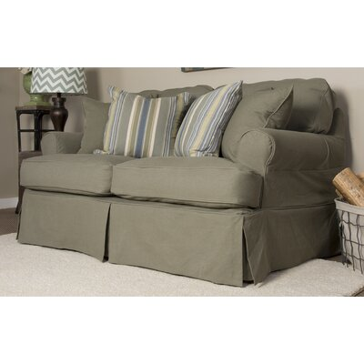 Coral Gables T-Cushion Loveseat Slipcover Set Upholstery: Forest Green