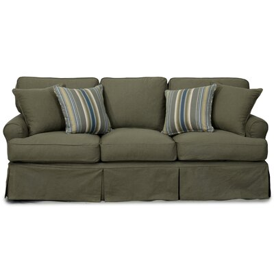 Coral Gables T-Cushion Cotton Sofa Slipcover Size: 37.8 H x 88 W x 38.2 D, Upholstery: Forest Green