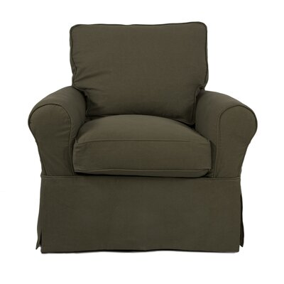 Coral Gables T-Cushion Cotton Armchair Slipcover Upholstery: Forest Green
