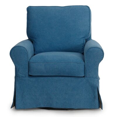 Coral Gables Box Cushion Armchair Slipcover Upholstery: Indigo Blue