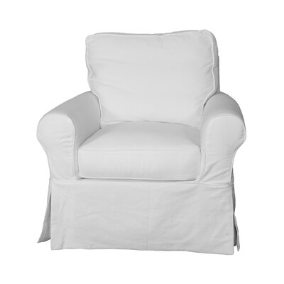 Coral Gables T-Cushion Cotton Armchair Slipcover Upholstery: Warm White