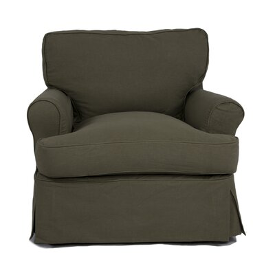 Coral Gables T-Cushion Armchair Slipcover Upholstery: Forest Green