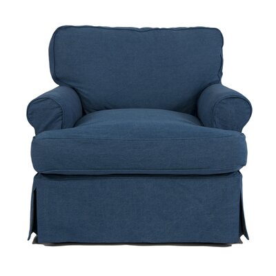 Coral Gables T-Cushion Armchair Slipcover Upholstery: Indigo Blue