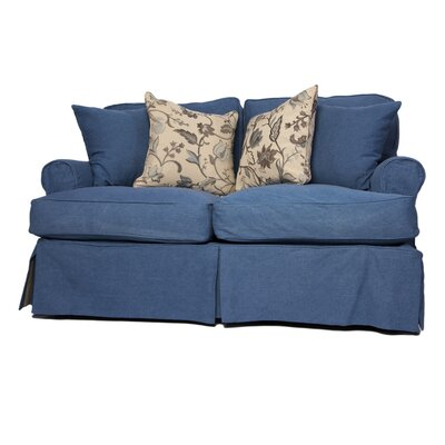 Coral Gables Loveseat T-Cushion Slipcover Set Upholstery: Indigo Blue
