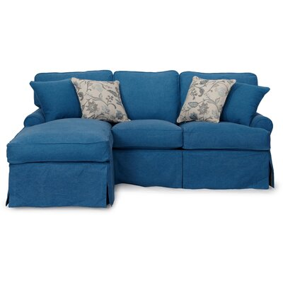Coral Gables T-Cushion Sofa Slipcover Set Upholstery: Indigo Blue