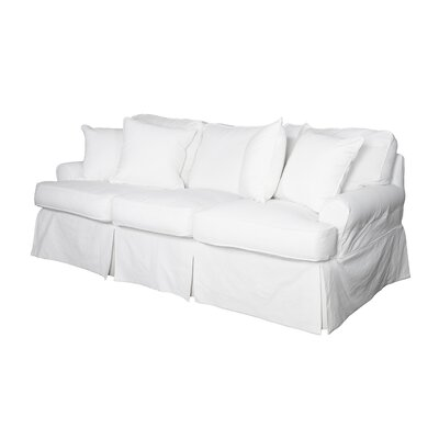 Coral Gables T-Cushion Sofa Slipcover Size: 36 H x 85 W x 39 D, Upholstery: Warm White