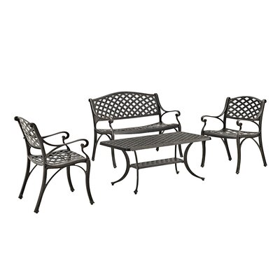 Binnett Cast Aluminum 4 Piece Deep Seating Group