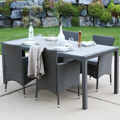 Beneccio Rattan Patio 5 Piece Dining Set with Cushions Finish: Gray