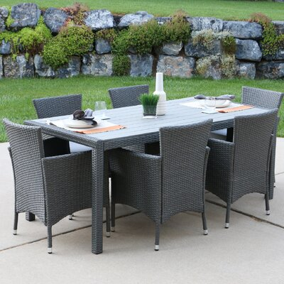 Oswilier Rattan Patio 7 Piece Dining Set with Cushions Finish: Gray