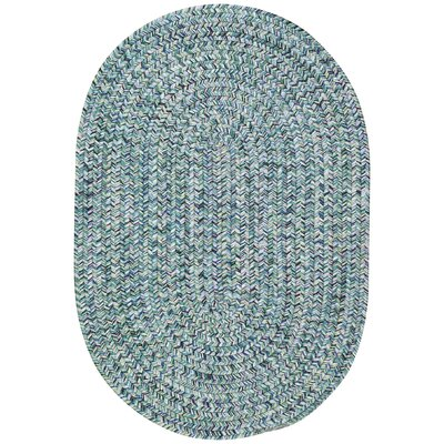 Lemon Grove Ocean Blue Outdoor Area Rug Rug Size: Oval 92 x 132