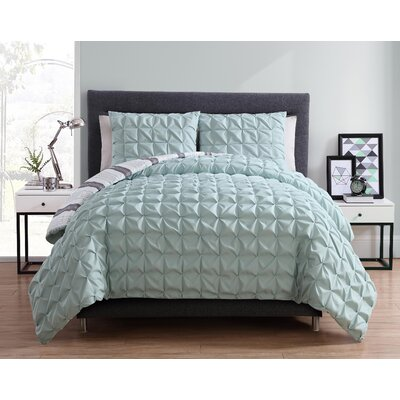 Fellsmere Reversible Duvet Set Color: Aqua, Size: King
