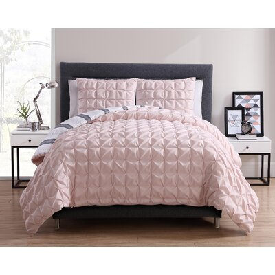 Fellsmere Reversible Duvet Set Color: Blush, Size: King
