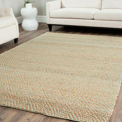 Richmond Hand-Woven Natural/Mint Green Indoor Area Rug Rug Size: Rectangle 26 x 4