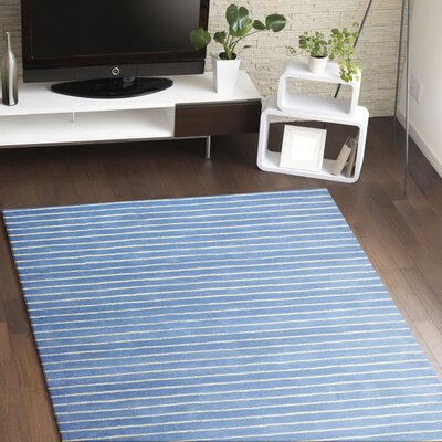 Huslia Hand-Woven Wool Blue Area Rug Rug Size: 86 x 116