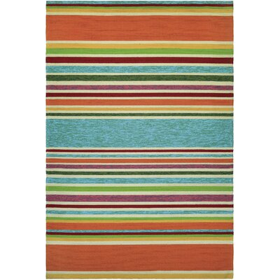 Locklin Hand-Woven Azure/Orange Indoor/Outdoor Area Rug Rug Size: Rectangle 36 x 56