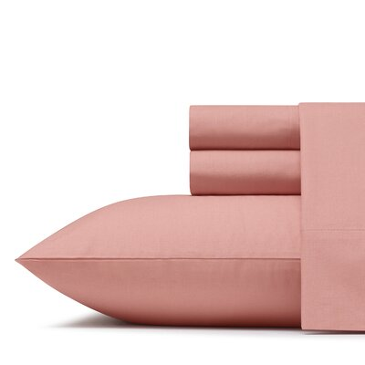 Mount Plymouth 200 Thread Count 100% Cotton Percale Sheet Set Size: Full, Color: Lobster Bisque