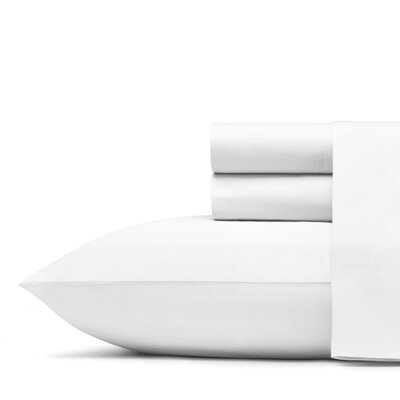 Mount Plymouth 200 Thread Count 100% Cotton Percale Sheet Set Size: Queen, Color: White