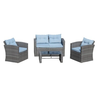 Denton Wicker 4 Piece Deep Seating Group with Cushion