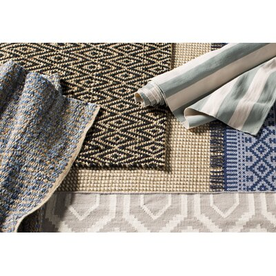 Gilchrist Hand-Woven Natural/Blue Area Rug Rug Size: Rectangle 9 x 12