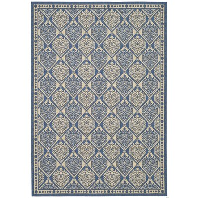 Romola Blue/Ivory Checked Outdoor Rug Rug Size: Rectangle 53 x 77