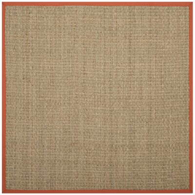 Mia Natural/Rust Area Rug Rug Size: Square 6