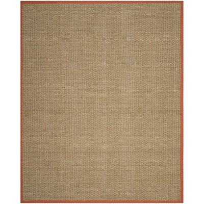 Mia Natural/Rust Area Rug Rug Size: 8 x 10
