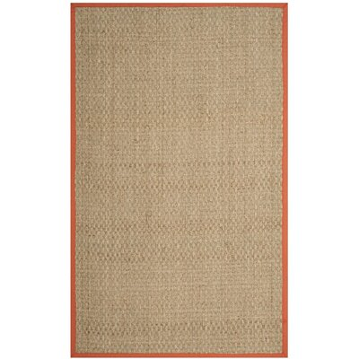 Mia Natural/Rust Area Rug Rug Size: 5 x 8