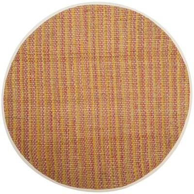 Neta Hand-Woven Pink/Yellow Area Rug Rug Size: Round 6