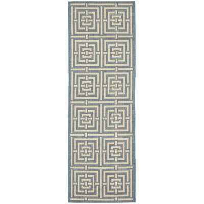 Romola Blue & Bone Indoor/Outdoor Area Rug Rug Size: Runner 24 x 67
