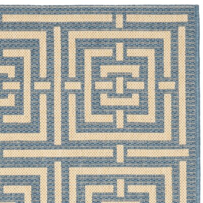 Romola Blue & Bone Indoor/Outdoor Area Rug Rug Size: Rectangle 27 x 5