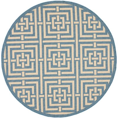 Romola Blue & Bone Indoor/Outdoor Area Rug Rug Size: Round 53