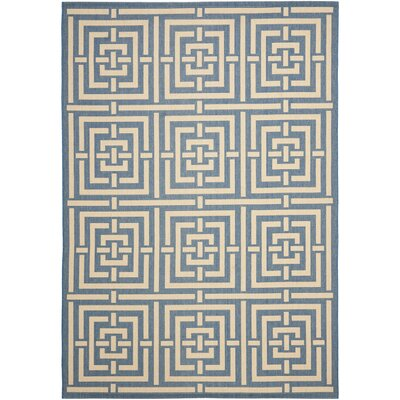 Romola Blue & Bone Indoor/Outdoor Area Rug Rug Size: 53 x 77