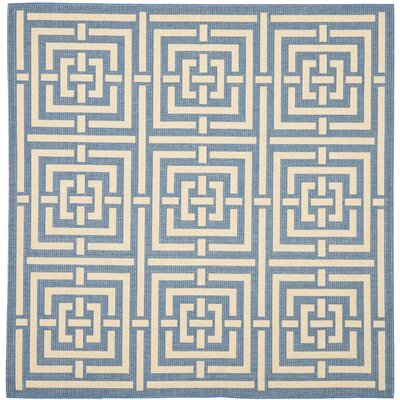 Inverness Highlands Blue & Bone Indoor/Outdoor Area Rug Rug Size: Square 67