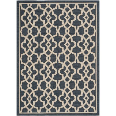 Ceri Navy/Beige Rug Rug Size: Rectangle 67 x 96