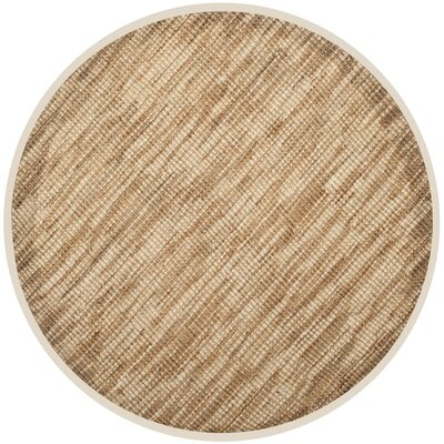 Omorfo Hand-Woven Natural/Cream Area Rug Rug Size: Round 6