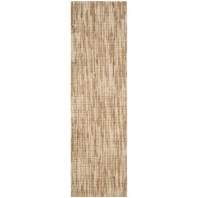 Omorfo Hand-Woven Natural/Cream Area Rug Rug Size: Runner 23 x 8