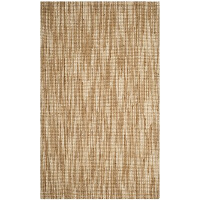 Brookford Hand-Woven Natural/Cream Area Rug Rug Size: 5 x 8