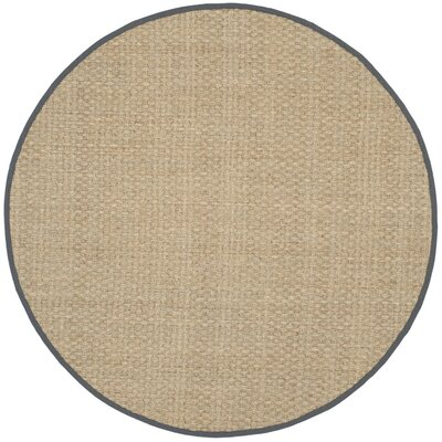 Peletier Natural/Dark Gray Area Rug Rug Size: Round 10