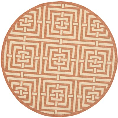 Inverness Highlands Abstract Terracotta Rug Rug Size: Round 53