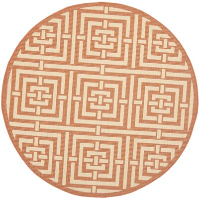 Romola Abstract Terracotta Rug Rug Size: Round 67