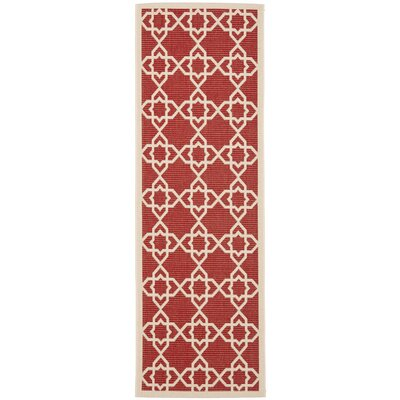 Ceri Machine Woven Red/Beige Indoor/Outdoor Rug Rug Size: Runner 23 x 12