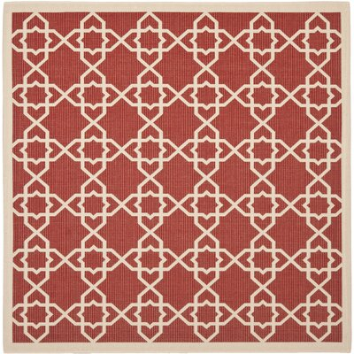 Ceri Machine Woven Red/Beige Indoor/Outdoor Rug Rug Size: Square 67