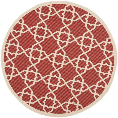 Ceri Machine Woven Red/Beige Indoor/Outdoor Rug Rug Size: Round 67